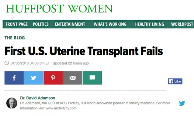 First US Uterine Transplant Fails